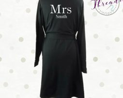 Mrs Smith cotton robe - plain silver writing