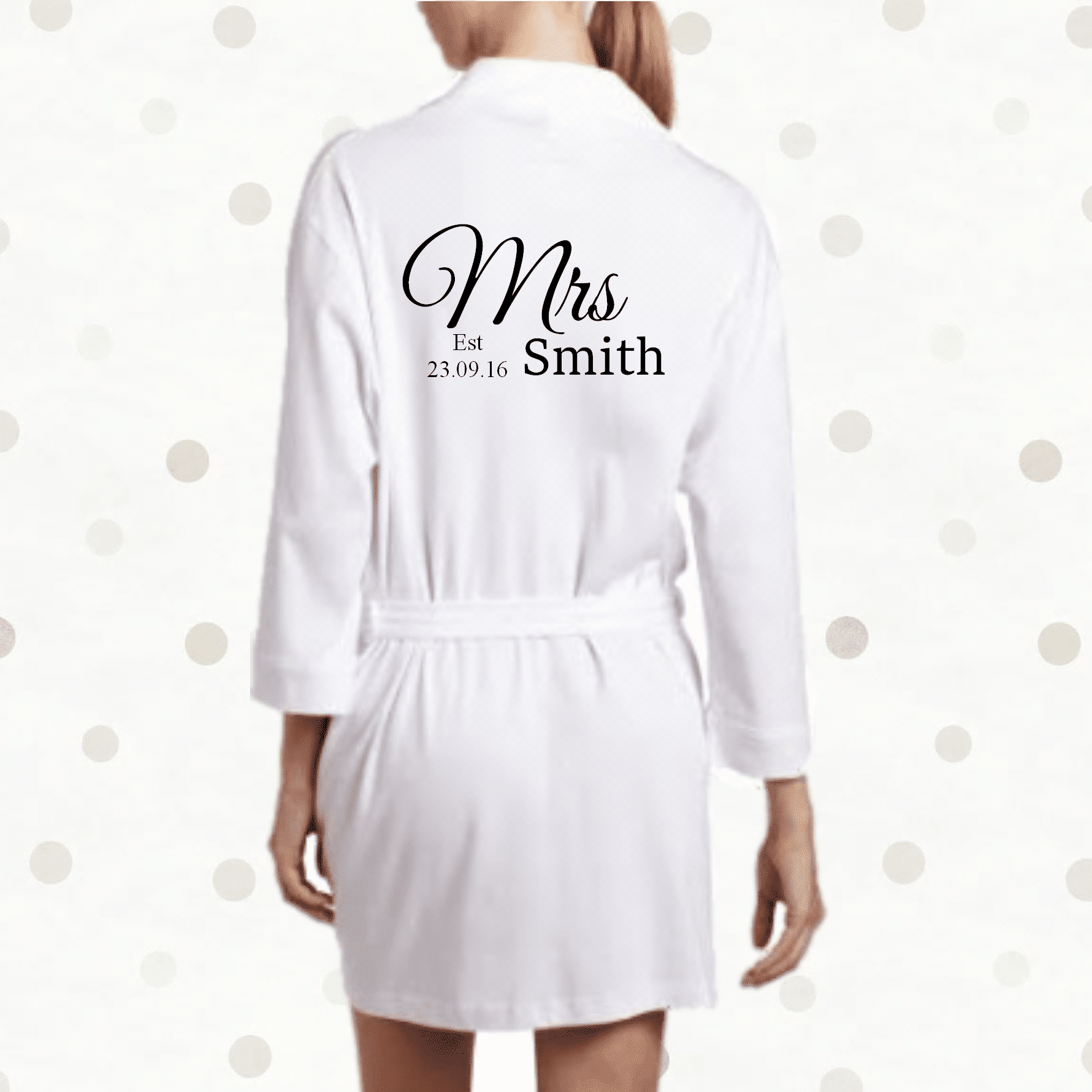PERSONALISED LUXURY COTTON WEDDING ROBE DRESSING GOWN BRIDE BRIDAL SLIPPERS GIFT