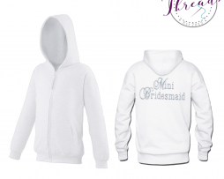 childrens mini bridesmaid zipped sweatshirt hoodies