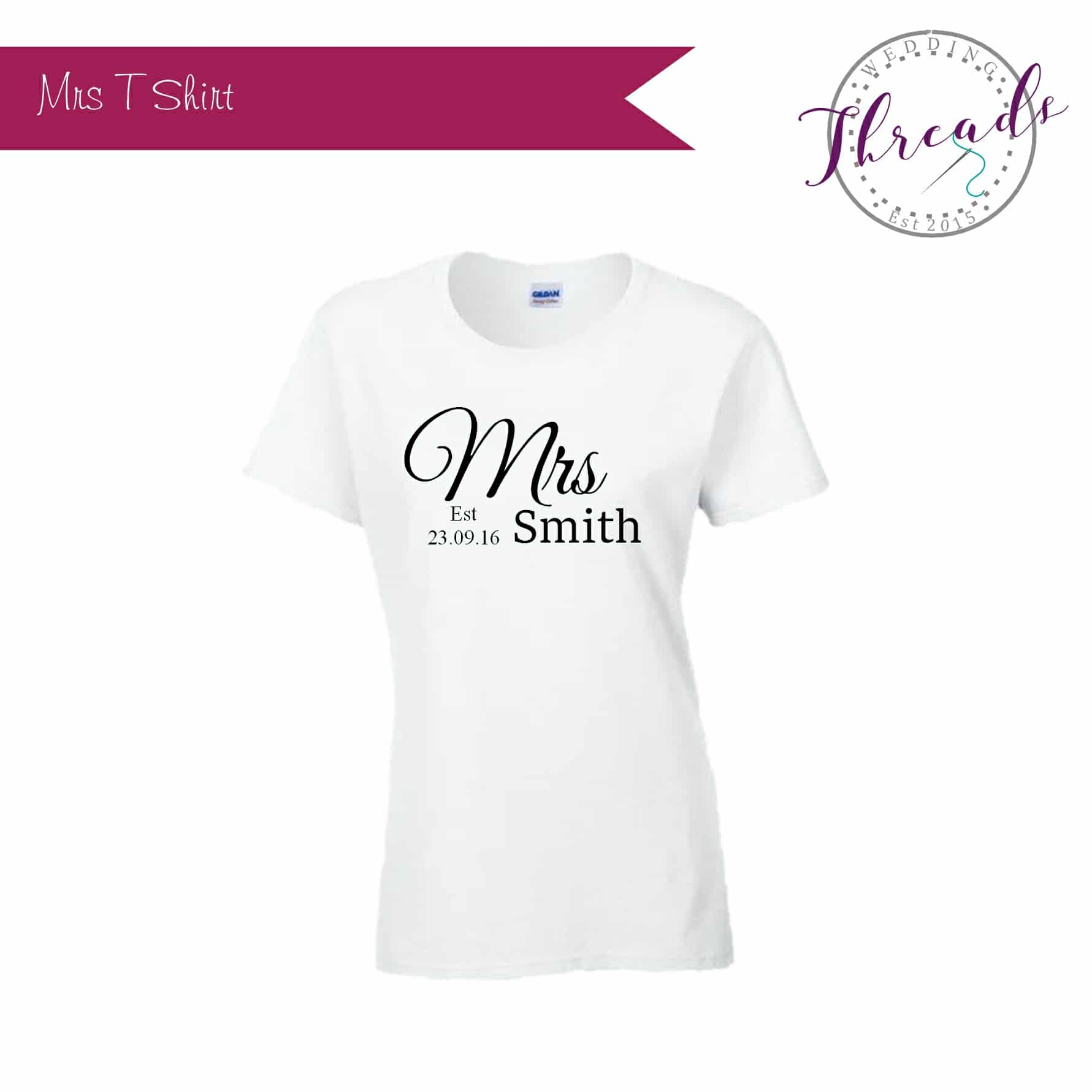 c419c06d111d Personalised Mrs Bridal T shirt,Wedding party tee shirts,
