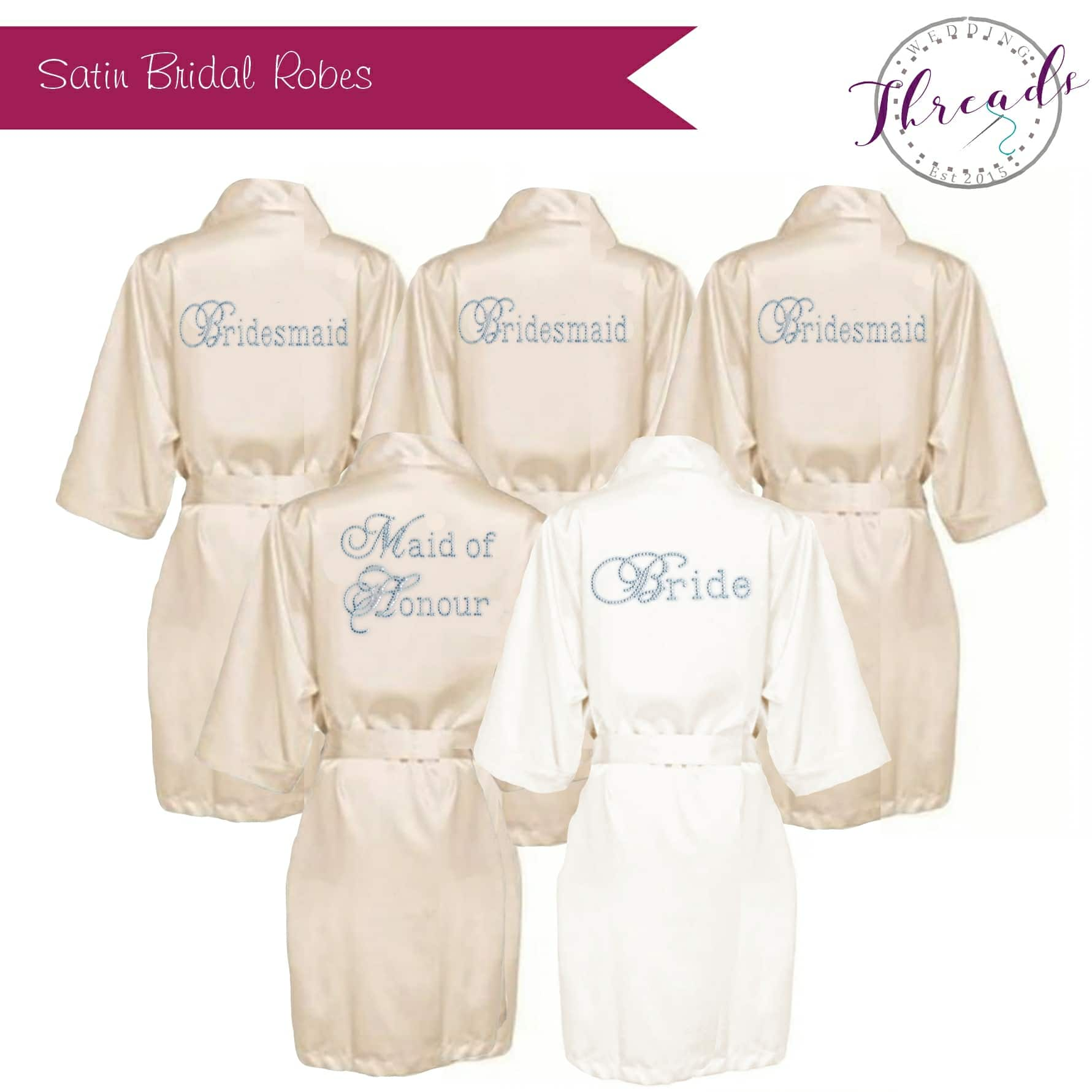 Wedding Dressing Gowns Personalised: Satin Dressing Gowns Set Of 5, Personalised Wedding