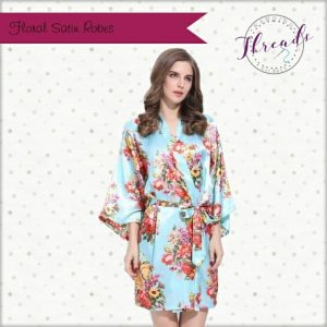 Diamante Floral Satin robe \u2013 Blue
