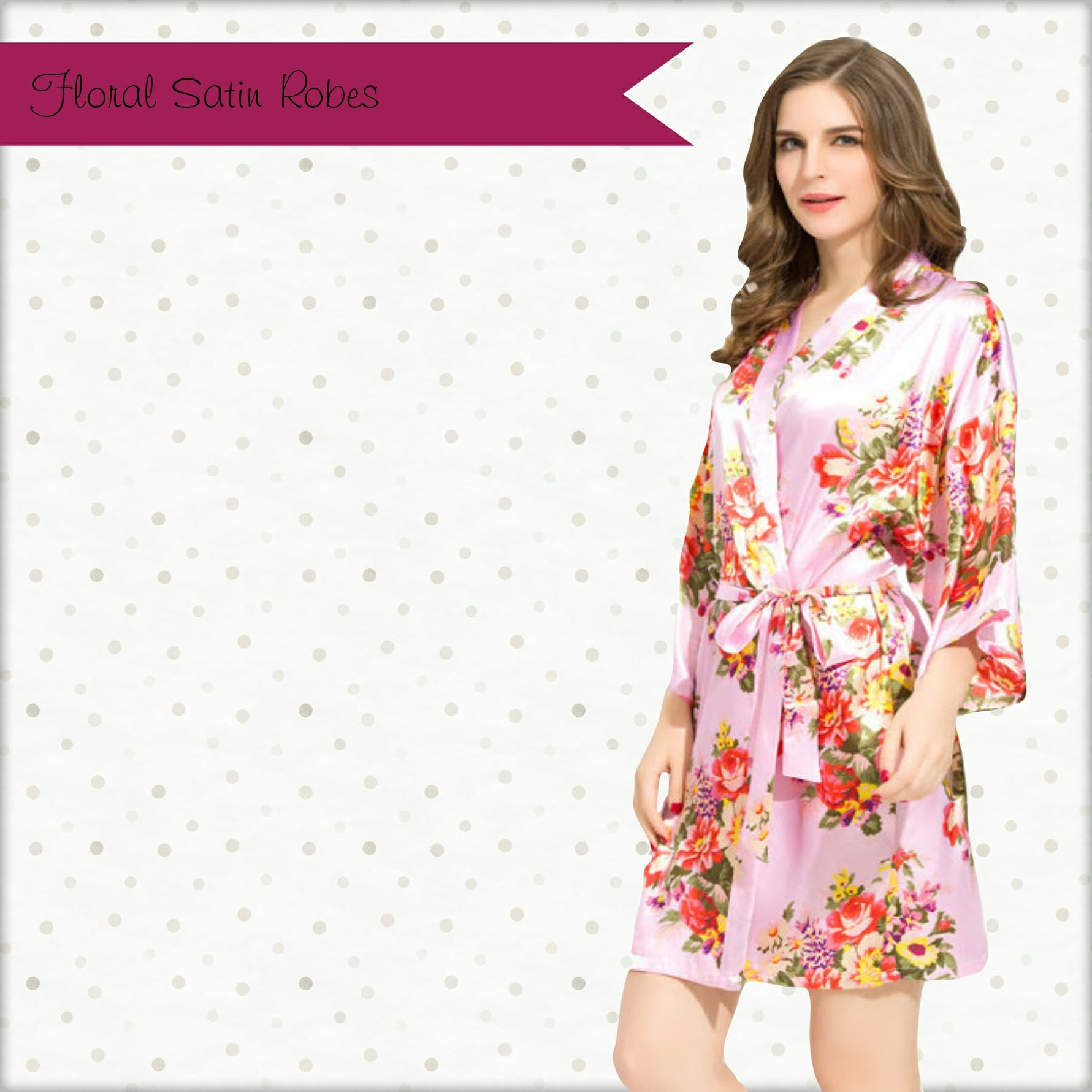 Diamante Floral Satin robe \u2013 Pink