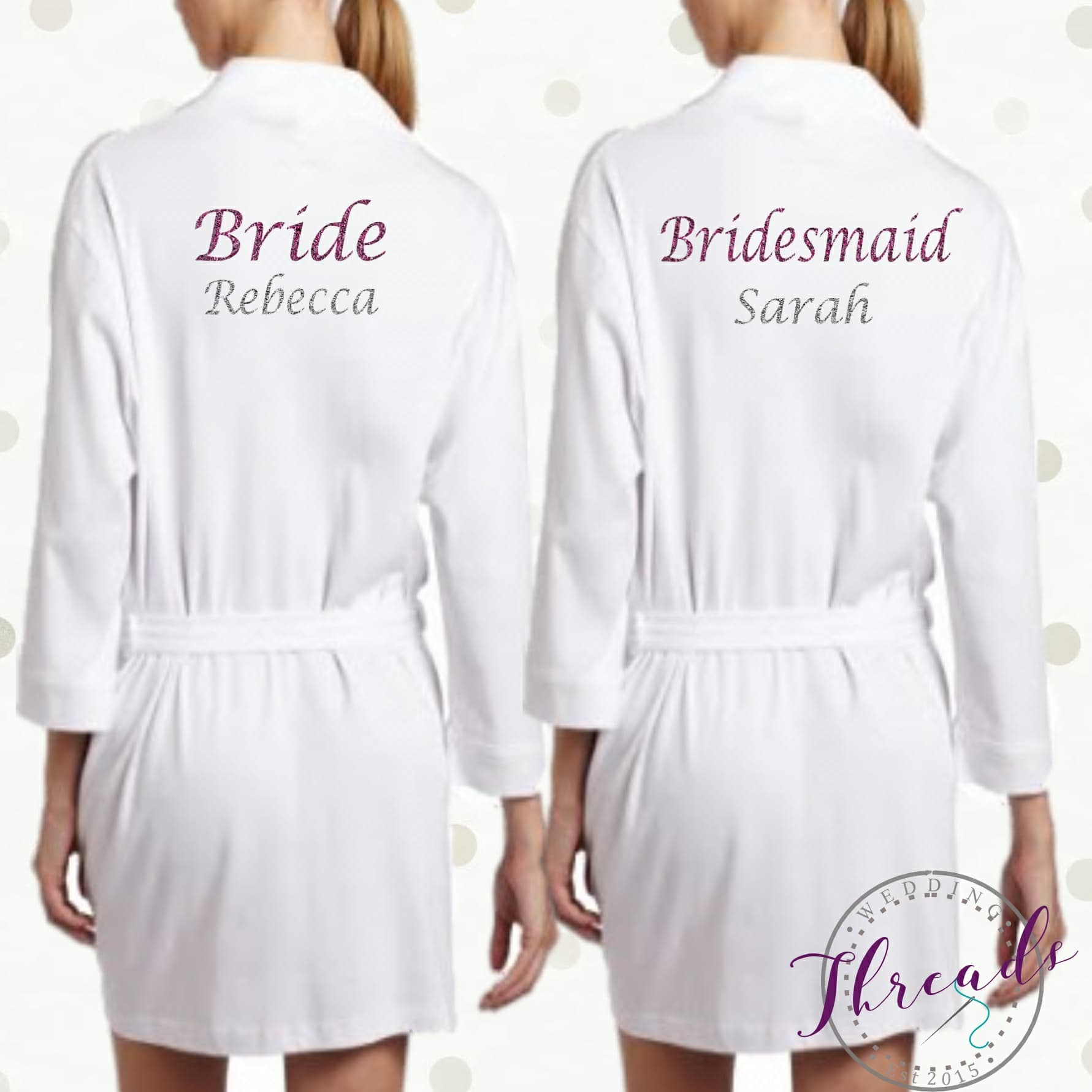 Wedding Dressing Gowns Personalised: Personalised Bridal Robes Set. Bridal Party Robes