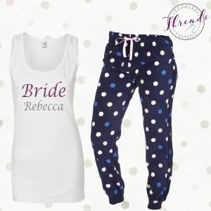 Personalised Bridesmaid Polka Dot Pyjamas