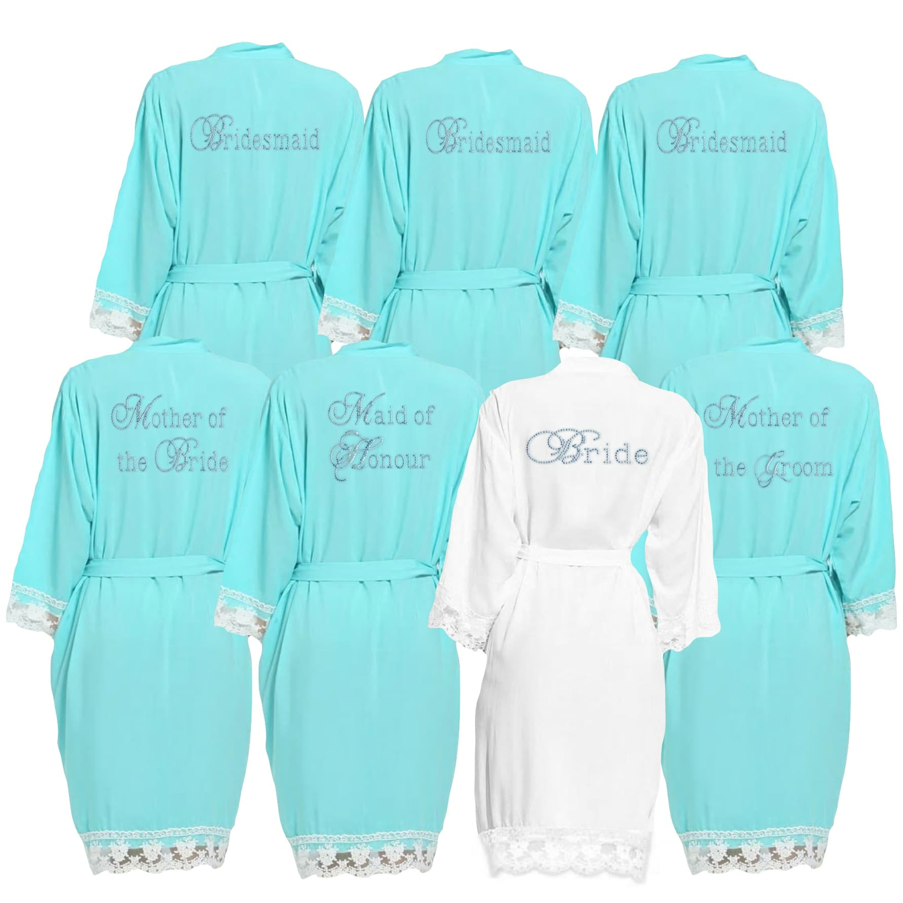 Aqua lace cuff dressing gown
