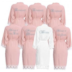 Blush Pink lace cuff dressing gown