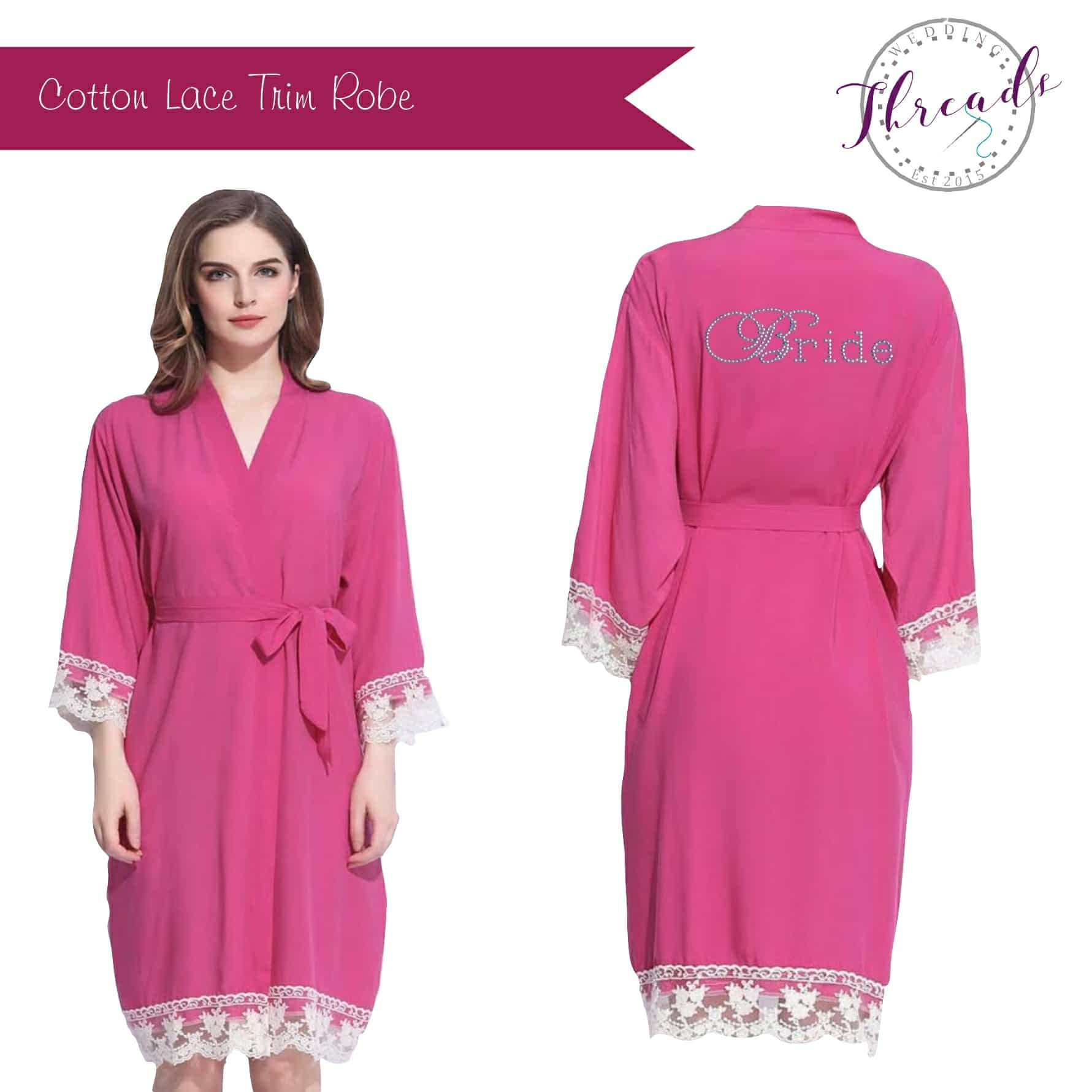 Lace cuff cotton dressing gown