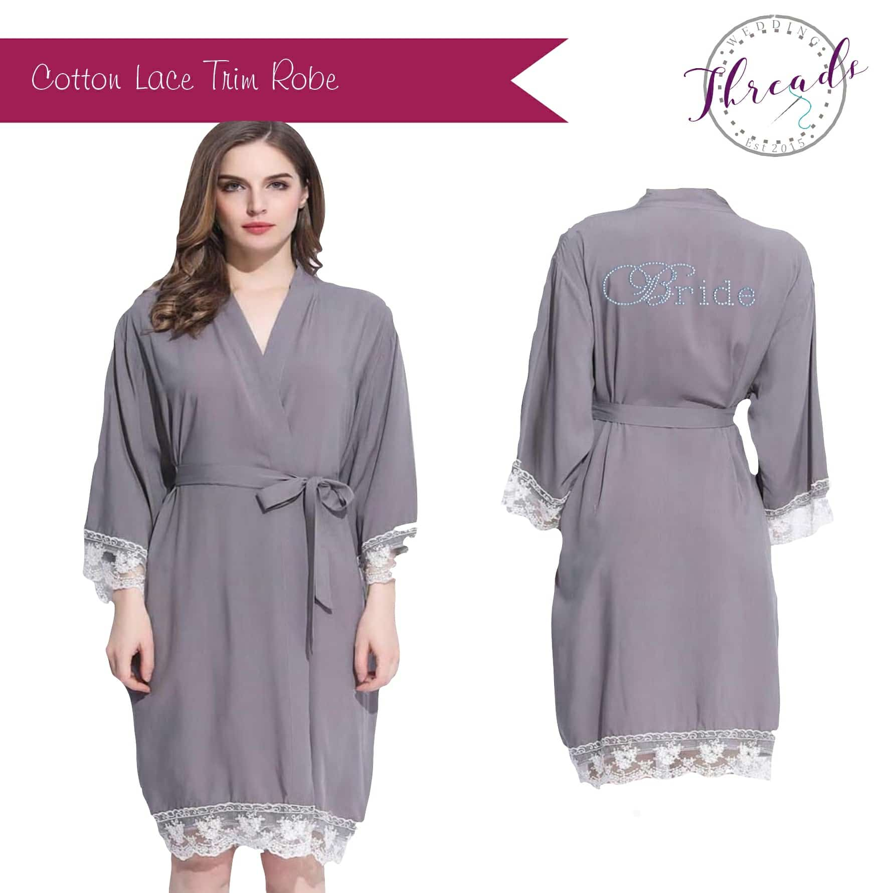 Lace cuff cotton dressing gown 956f50dbf851