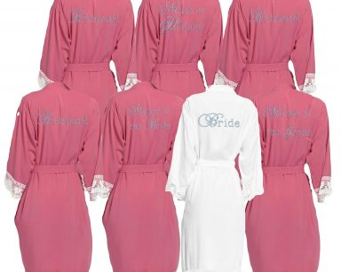 Dusky Pink lace cuff dressing gown