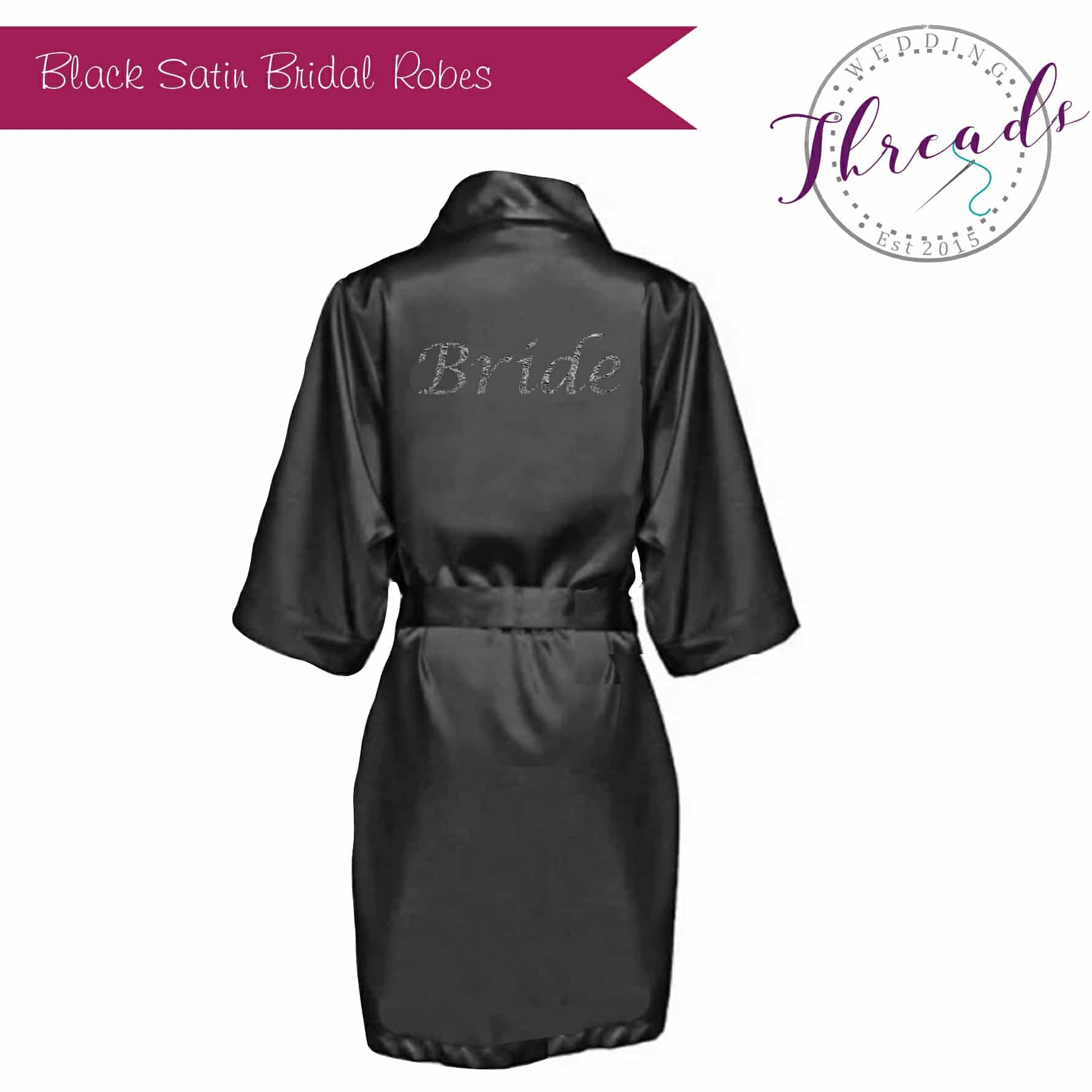 Black satin dressing gown