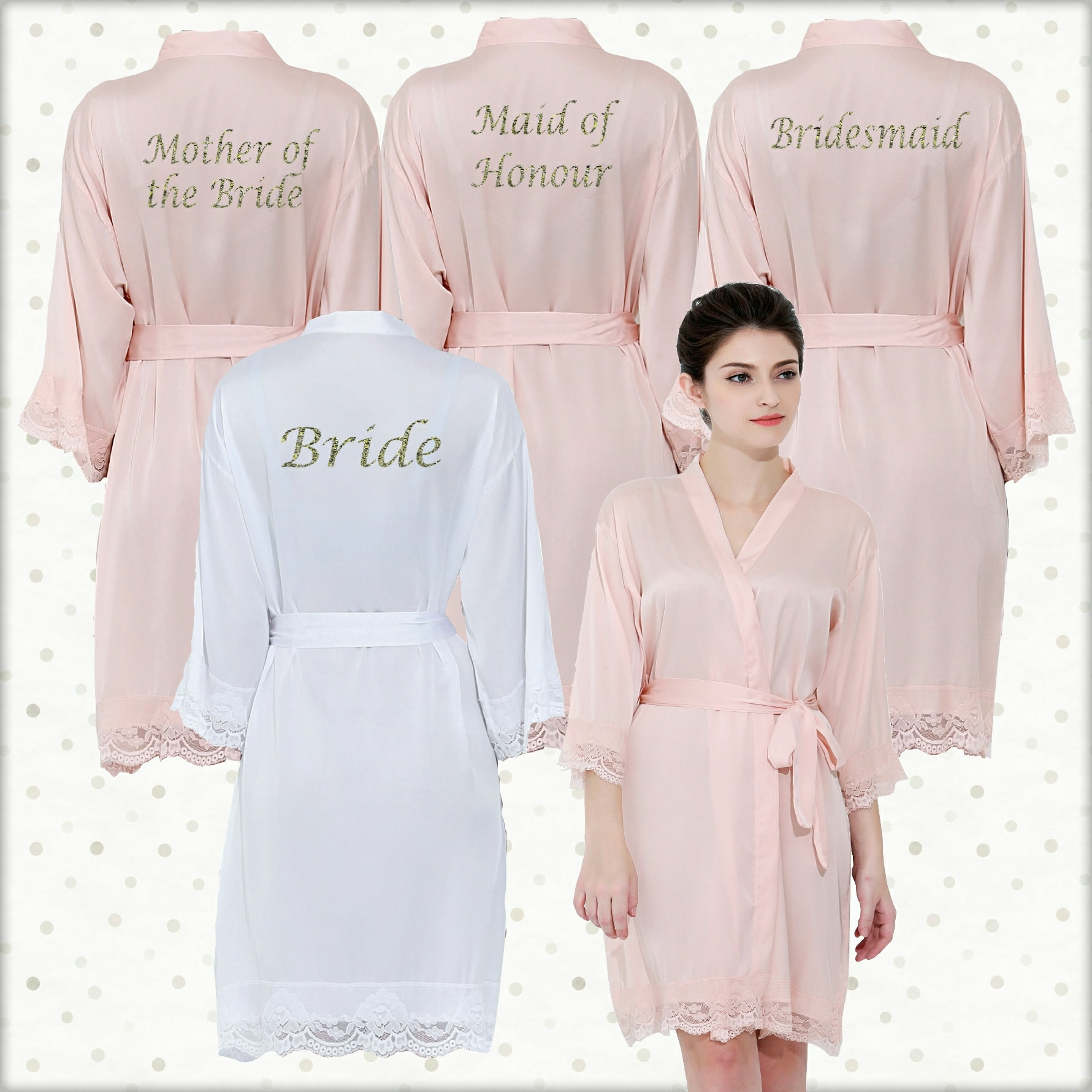 Lace Satin Robes. Personalised Lace cuff dressing gowns 56bc9cf7a
