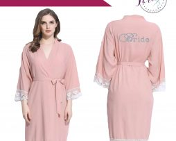 Blush pink lace robe