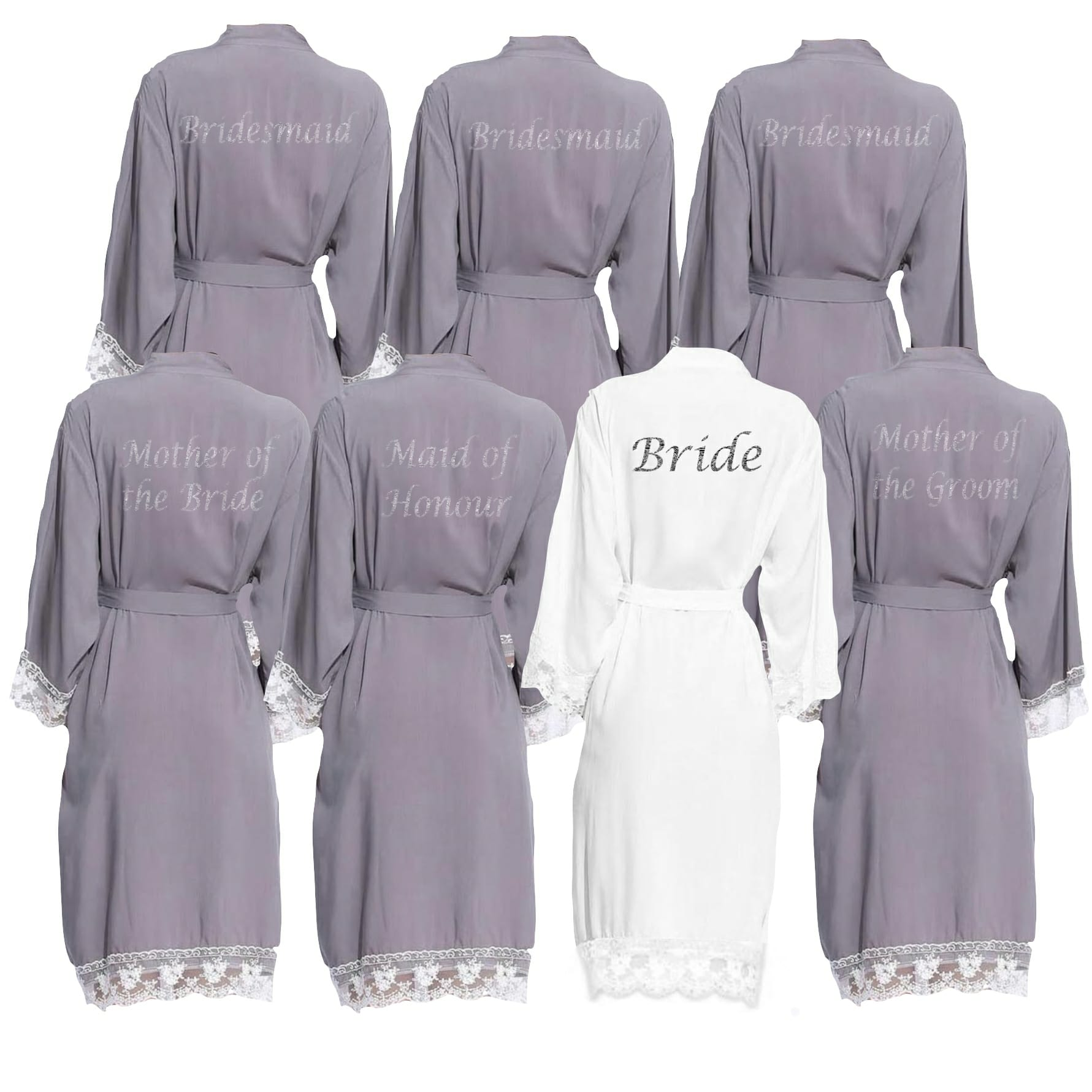 714f40c579b1 Grey lace cuff robe set - Personalised Dressing Gowns   Bridal Party ...