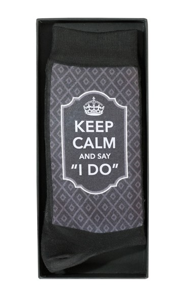 groom keep calm wedding socks