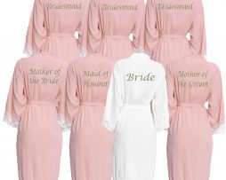 Blush Pink lace cuff robe