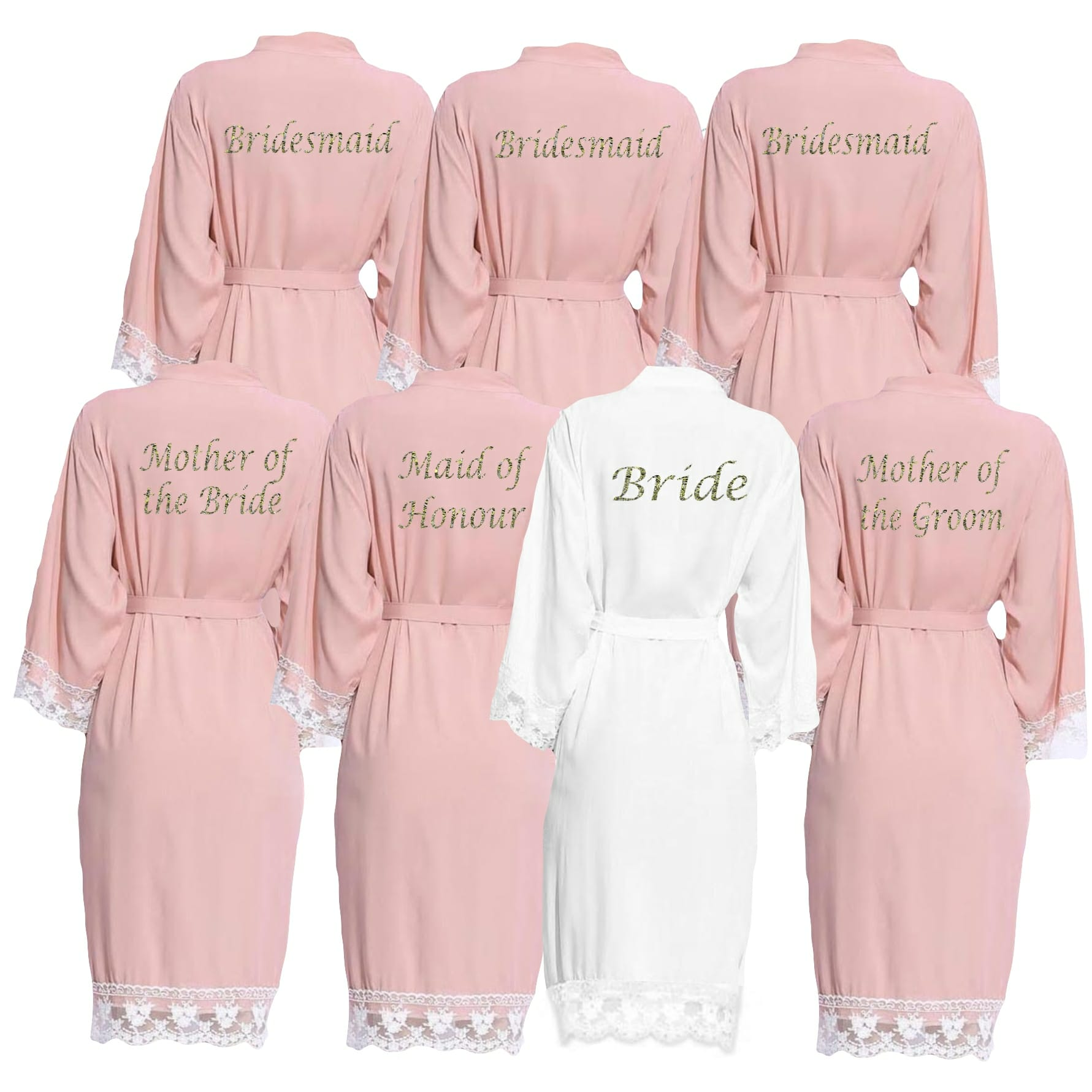 6bb06312239 Blush Pink lace cuff robes - Personalised Dressing Gowns   Bridal ...