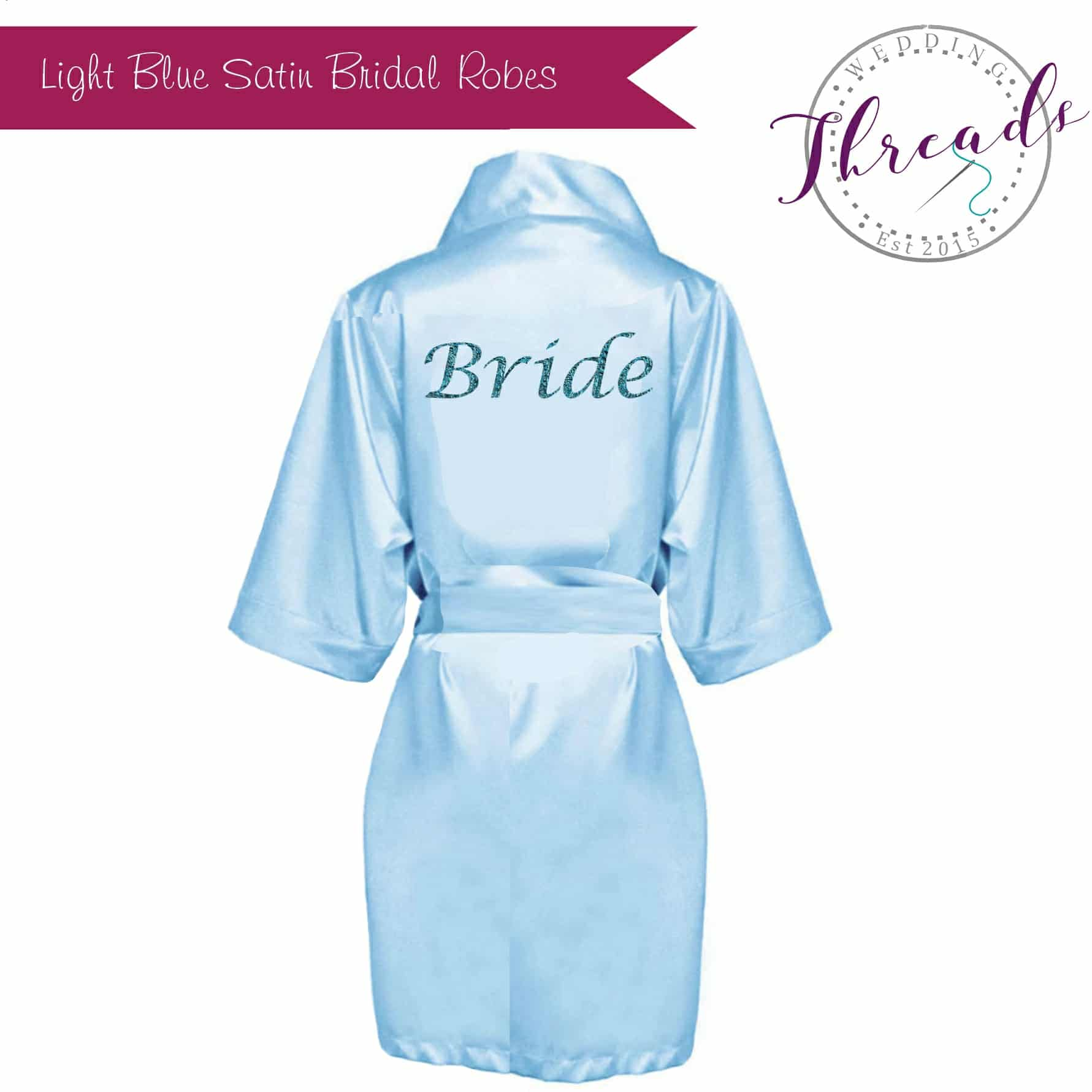 Baby Blue satin dressing gown