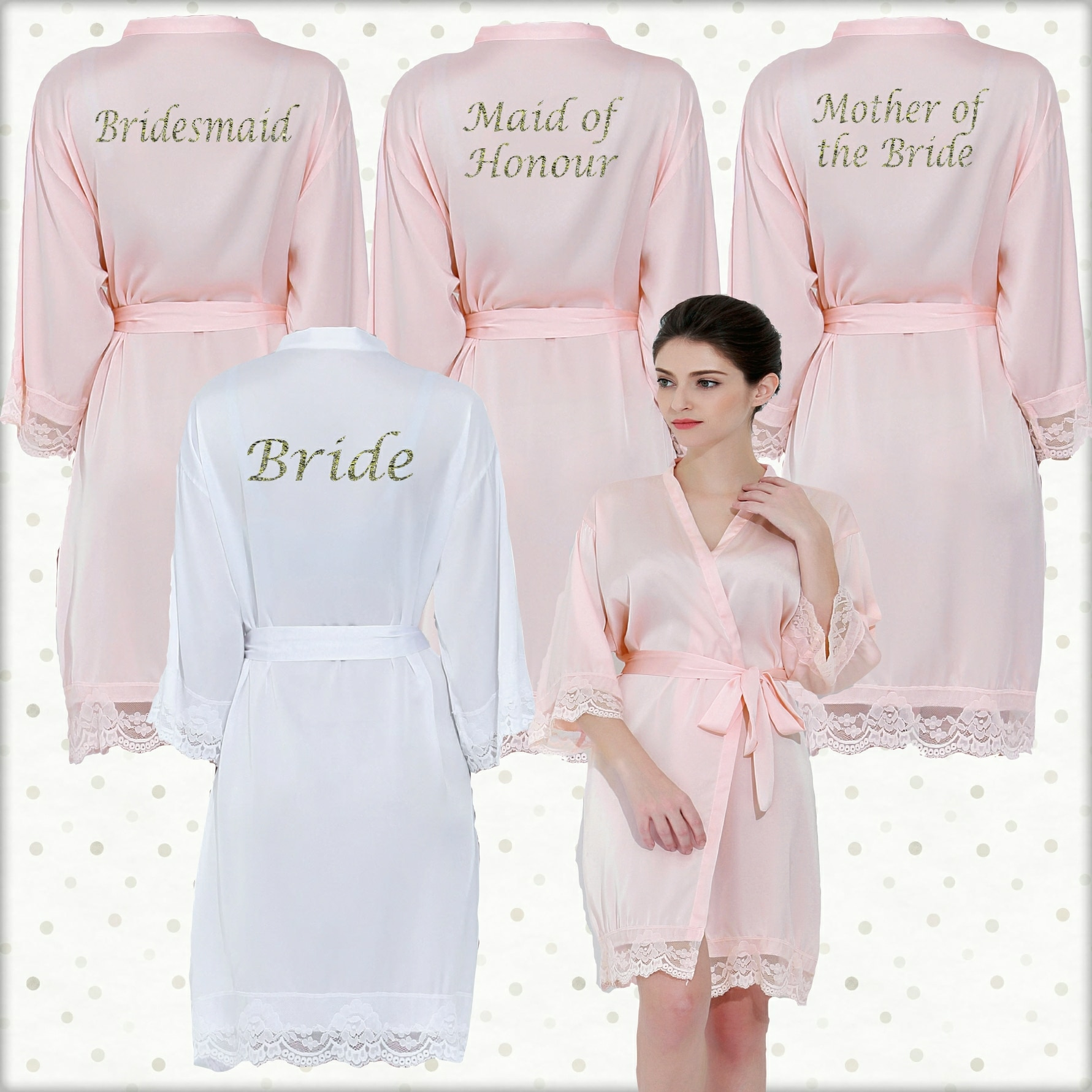 040223754133 Light Pink Lace Robes set Personalised Lace cuff satin dressing gowns