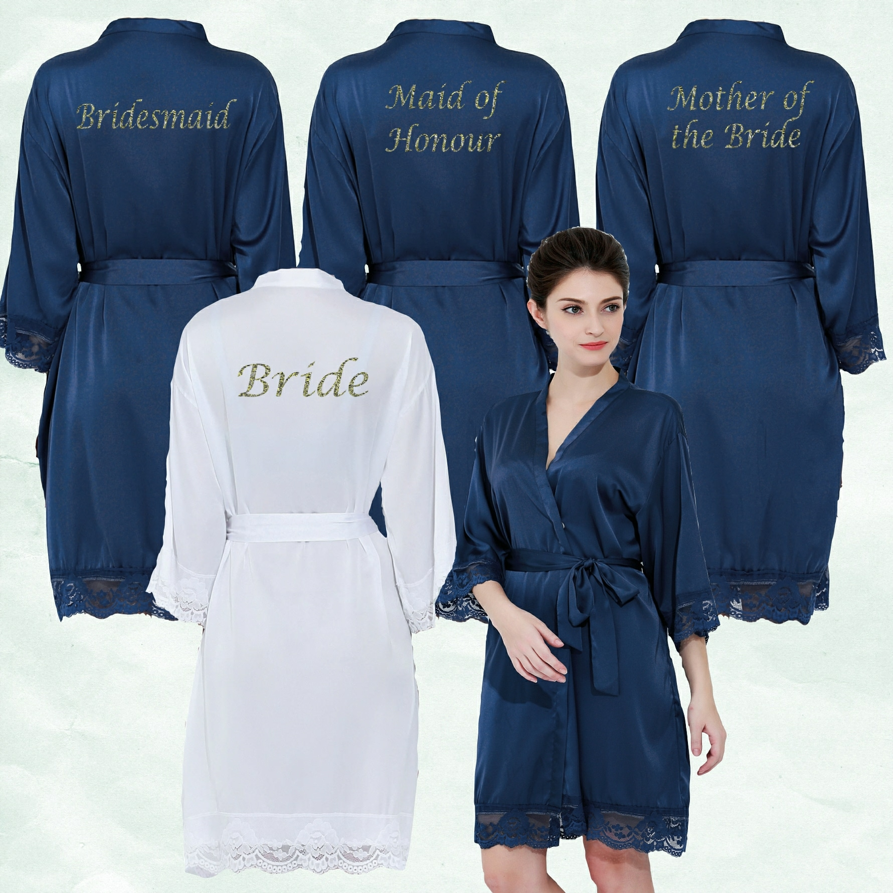 Navy Satin Lace Robes