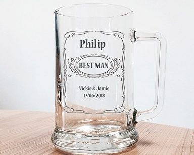 personalised glass tankard wedding gift