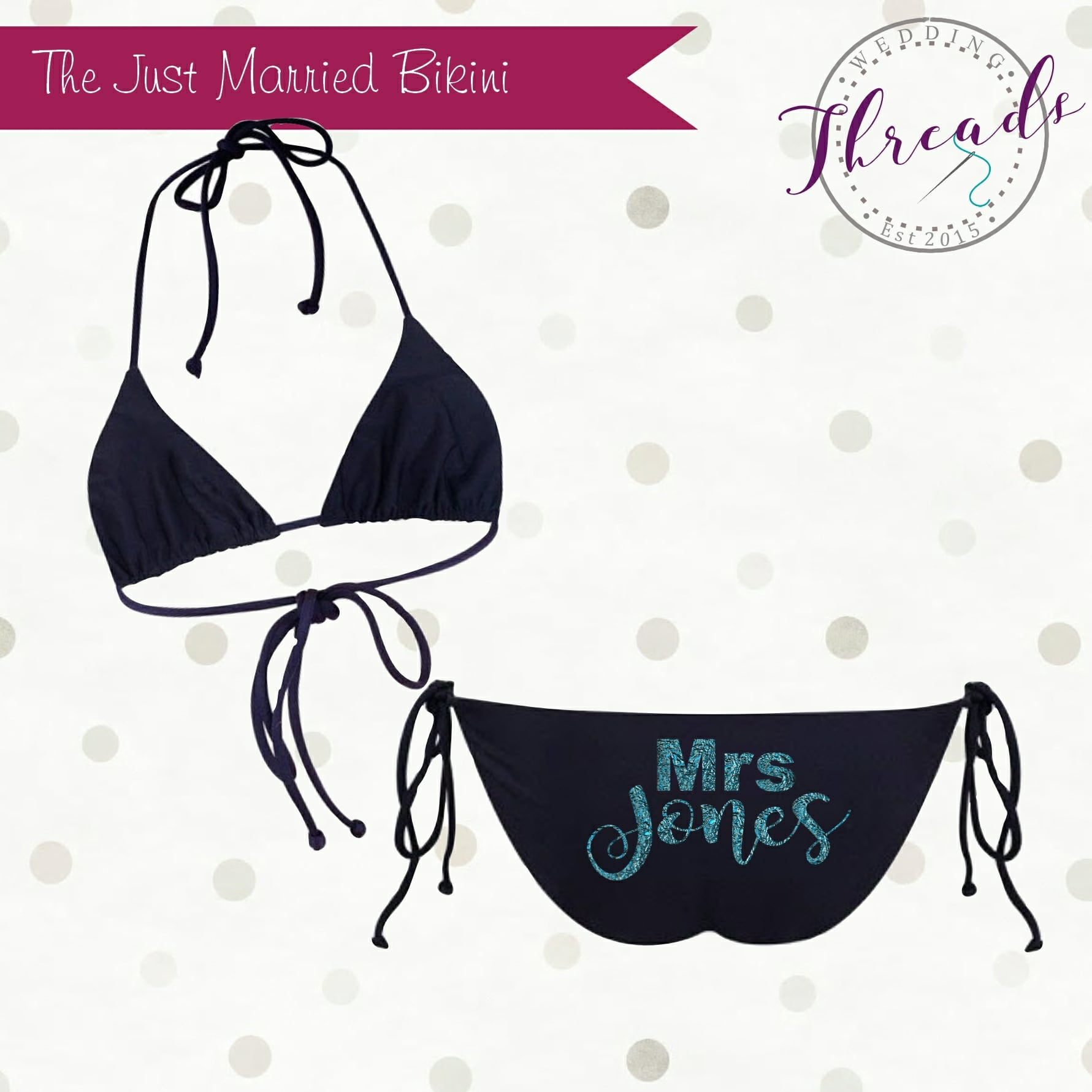 4b8b5dd4d0 Mrs Bikini swimsuit - Personalised Dressing Gowns   Bridal Party Robes -  Wedding Threads