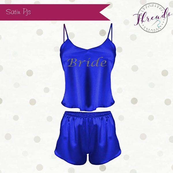 Blue short satin pyjamas
