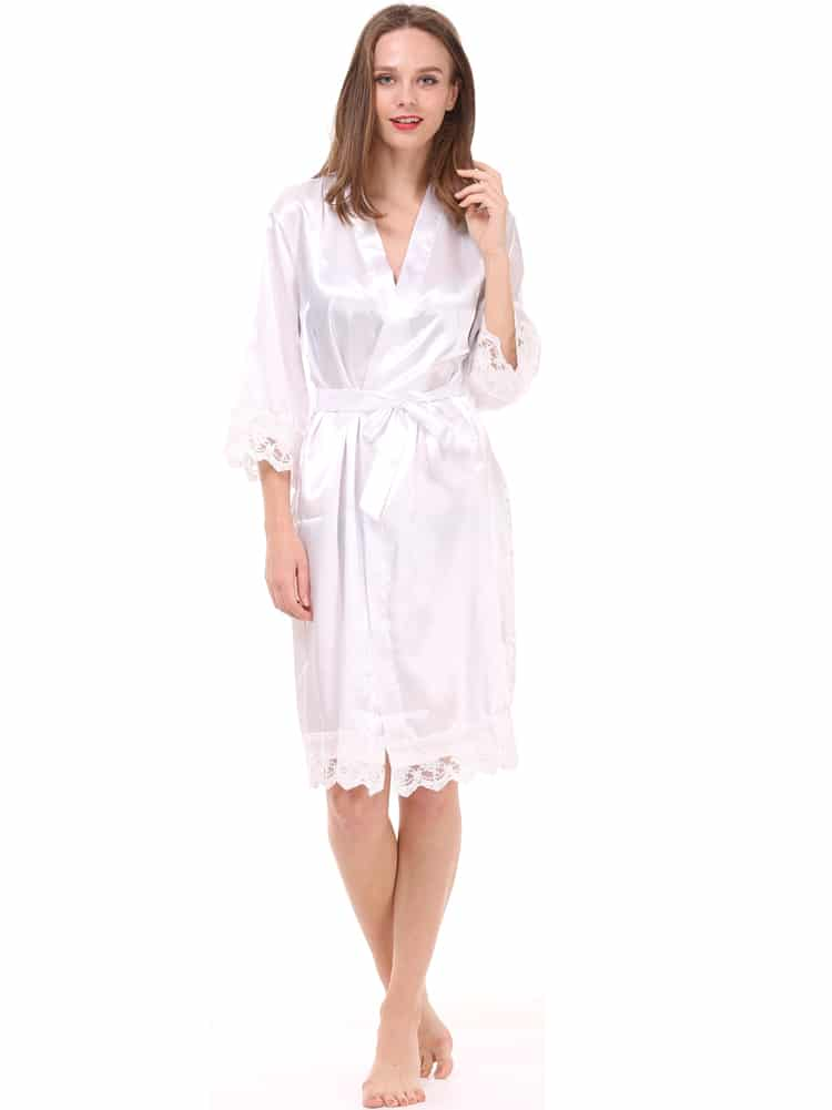 detailed look performance sportswear limited sale Lace cuff satin robes set of 5