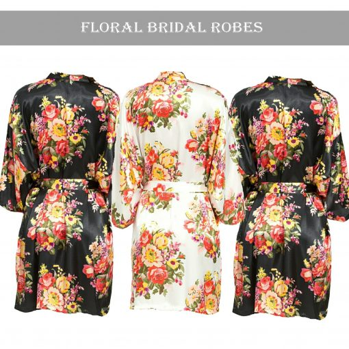 Black floral robe Set