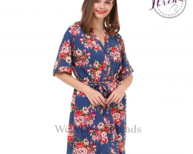 Blue floral cotton robe