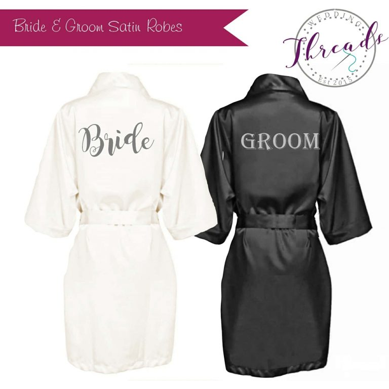 bride & groom satin robes