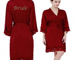 Burgundy Satin Lace Robe