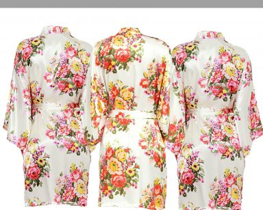 Champagne floral robe Set