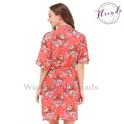 Coral floral cotton robe