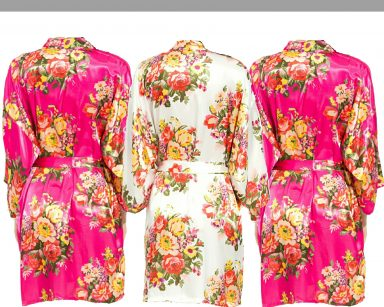 Fuschia floral robe Set