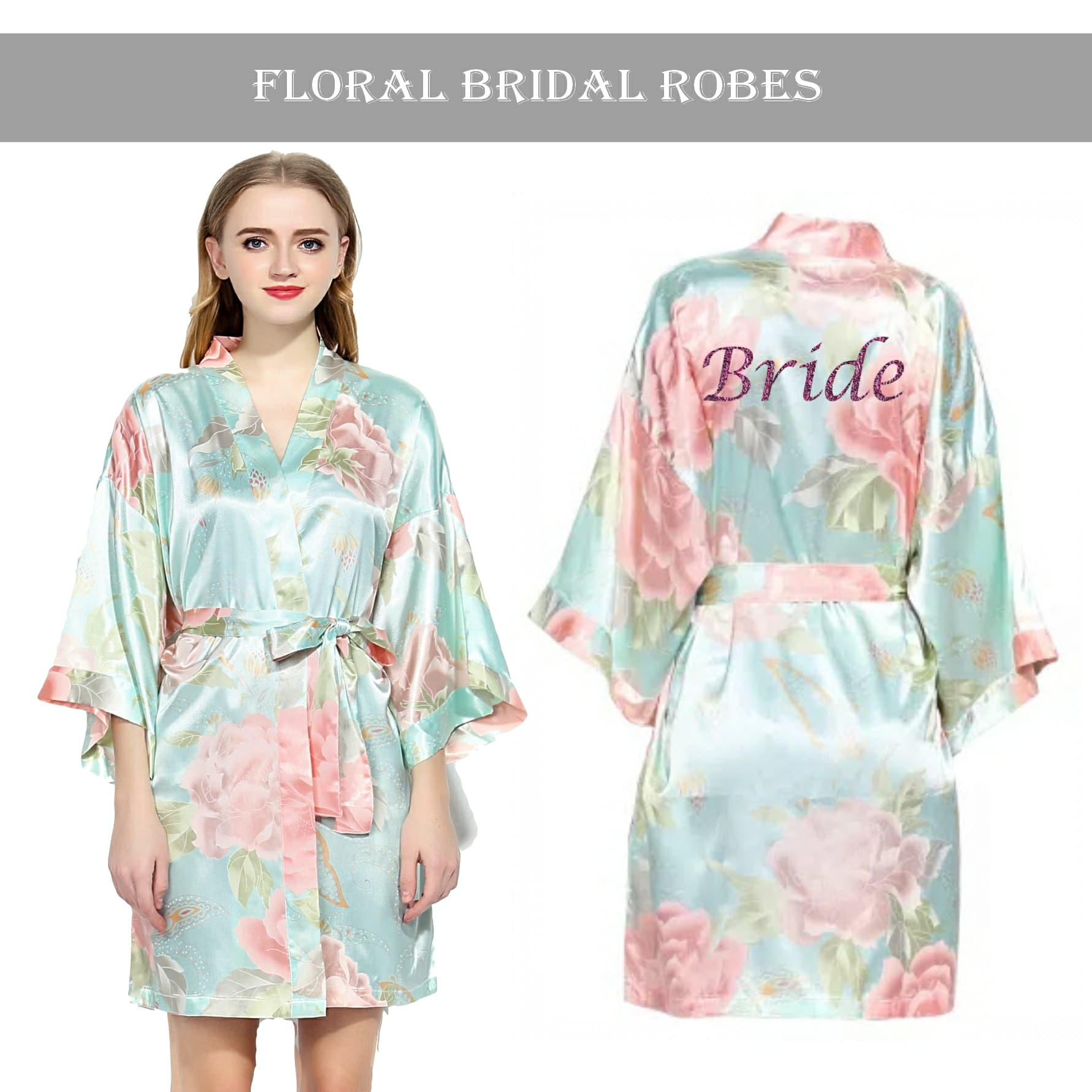 Vintage floral robe Light Blue
