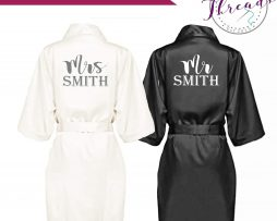 mr & mrs satin robes