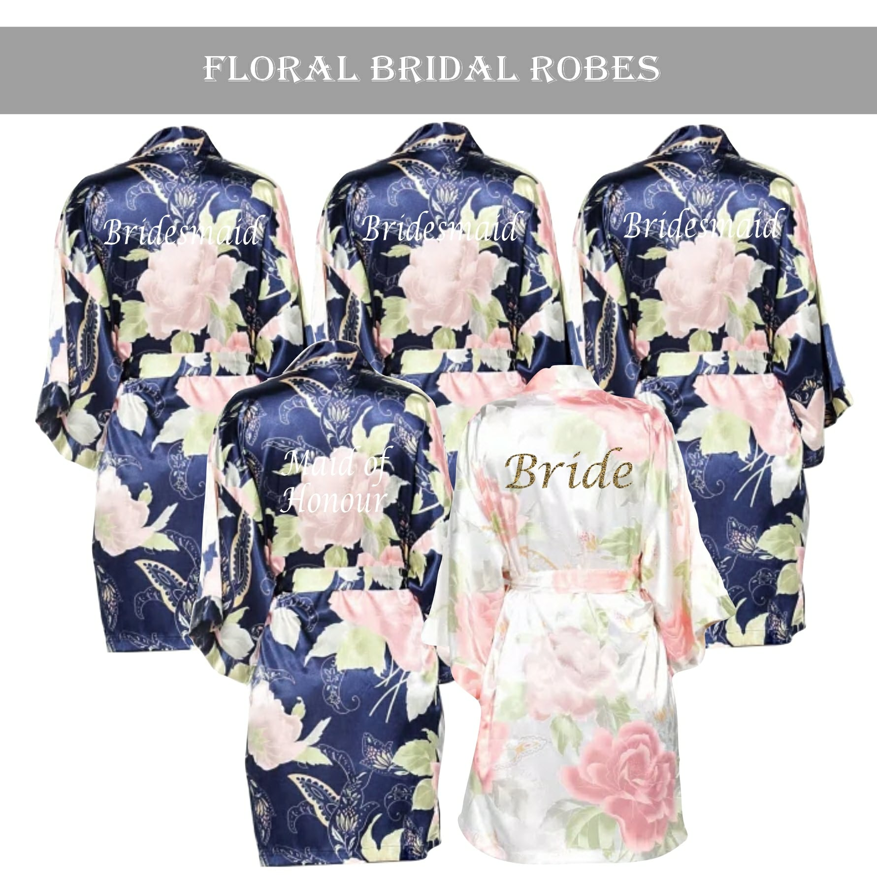 Vintage Floral Robe Set Navy Blue Personalised Dressing Gowns Bridal Robes Wedding Threads