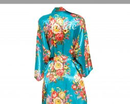 Turquoise floral robe