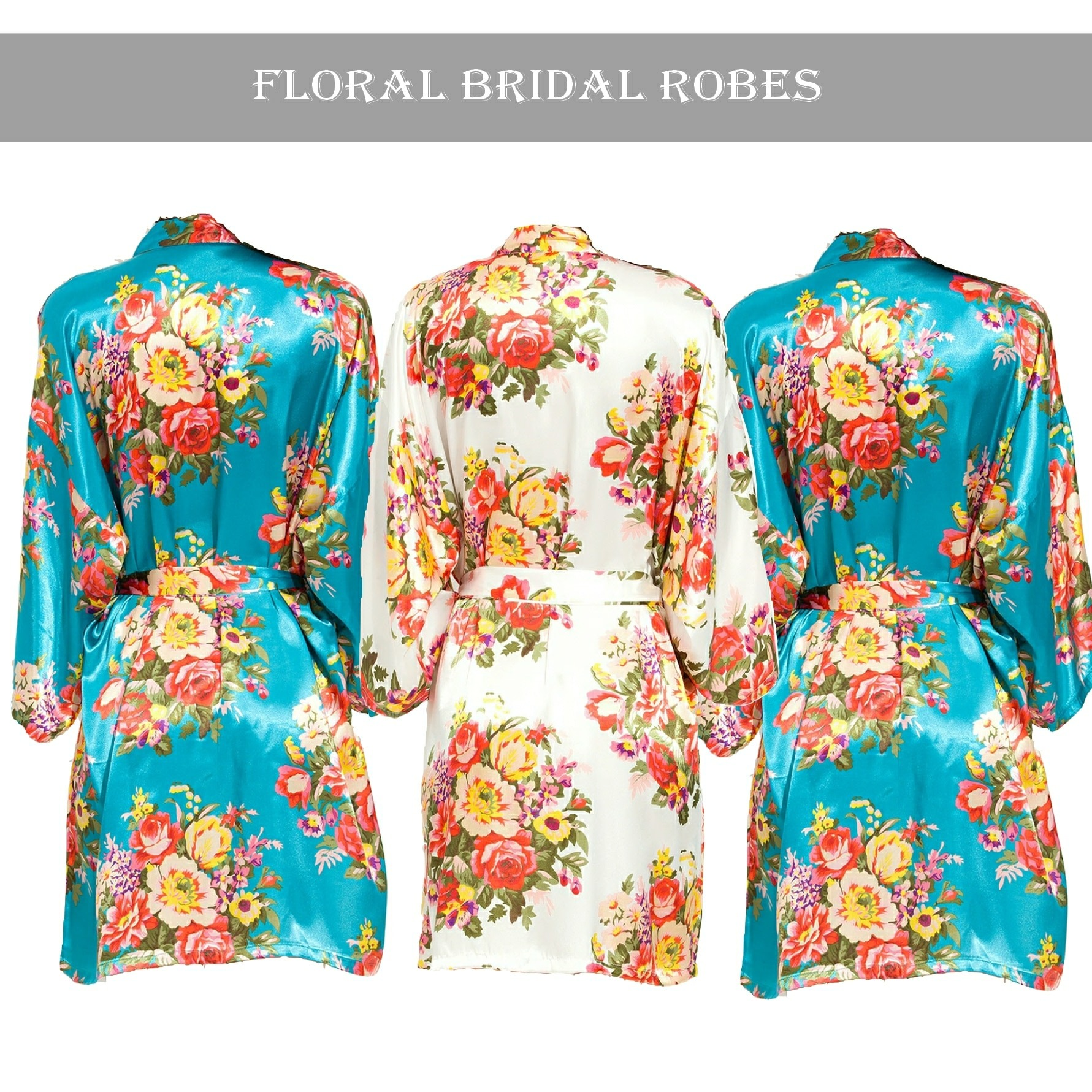 Turquoise floral robe Set