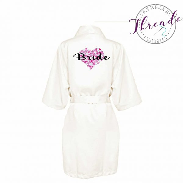 Printed Bridal Robes. Personalised and Unique Bride dressing gowns.