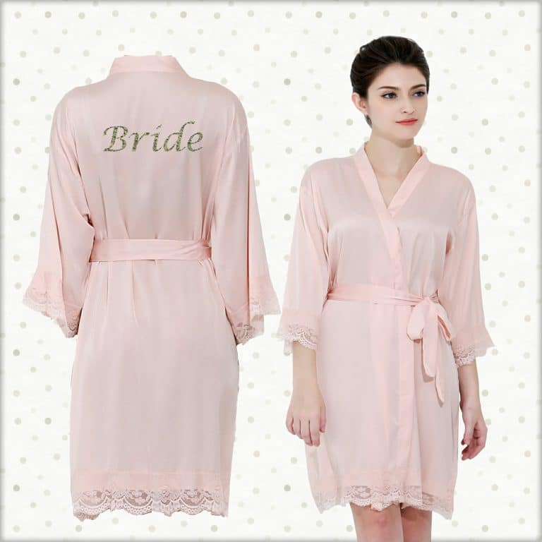 Blush Pink Satin lace Robe