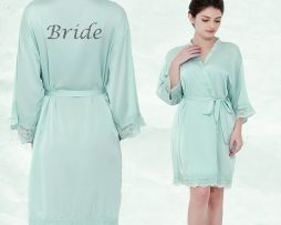Aqua Satin lace Robe
