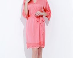 Coral satin lace robes