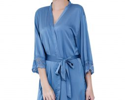 Blue satin lace robes
