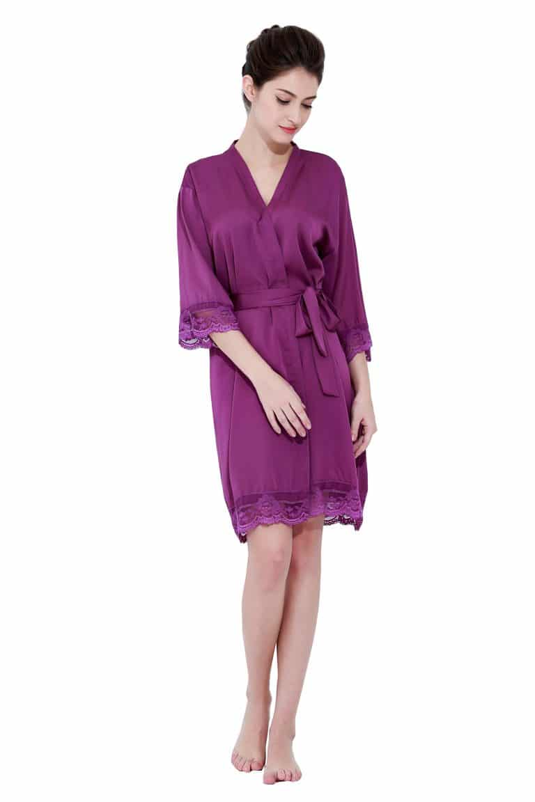 Purple satin lace robes