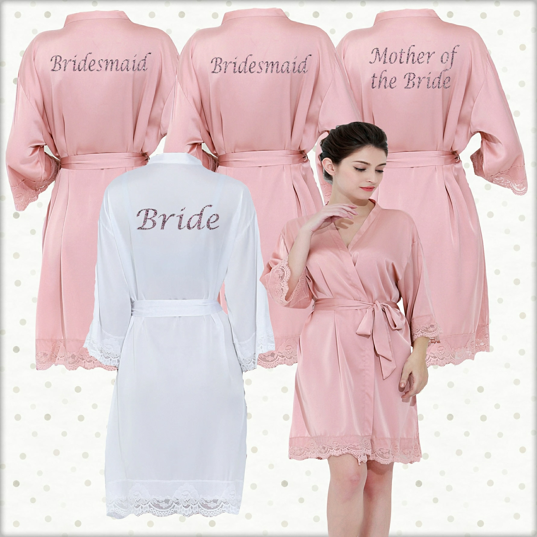 d21ea34fc2dd Rose Pink Lace Robes set Personalised Lace cuff satin dressing gowns