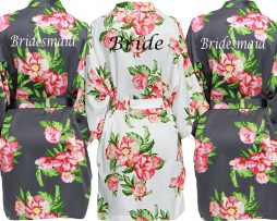 Slate Grey Floral Dressing Gown