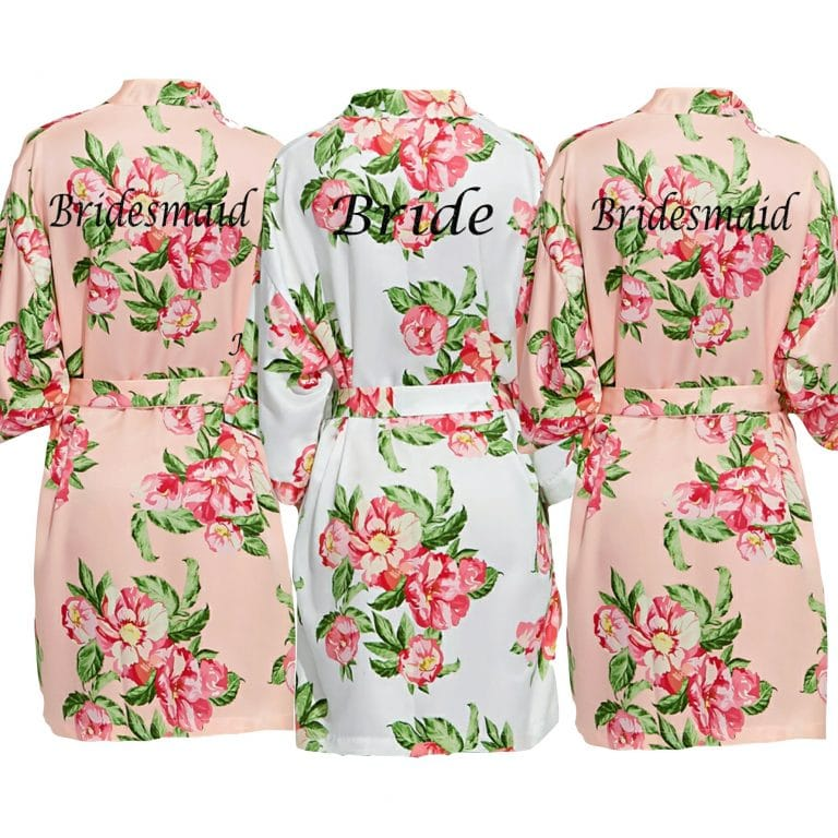 Peach Floral Dressing Gown