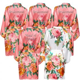 Coral Floral Robe